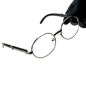 Mens Silver Clear Lens Wood Hip Hop Eye Glasses